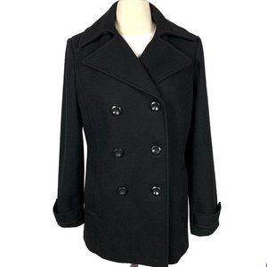 New York Company Black Wool Blend Pea Coat 6